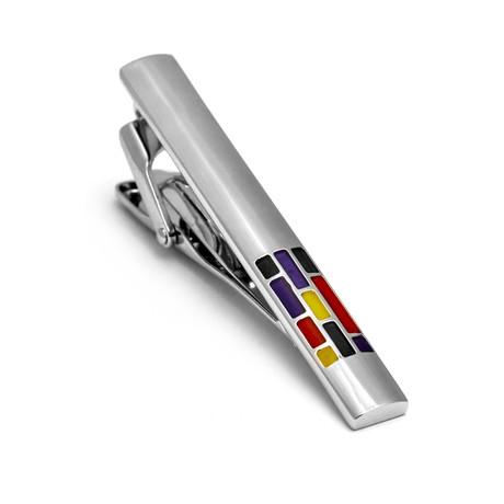 Hart Schaffner Marx // Enamel Rhodium Plated Tie Bar // Sliver + Multi
