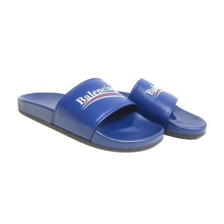 Balenciaga // Campaign Logo Flat Pool Slides // Blue (US: 6)
