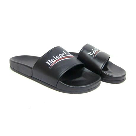 Balenciaga // Campaign Logo Flat Pool Slides // Black (US: 6)