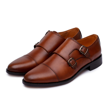 Goodyear Welted Captoe Double Monk Strap // Tan (US: 8)