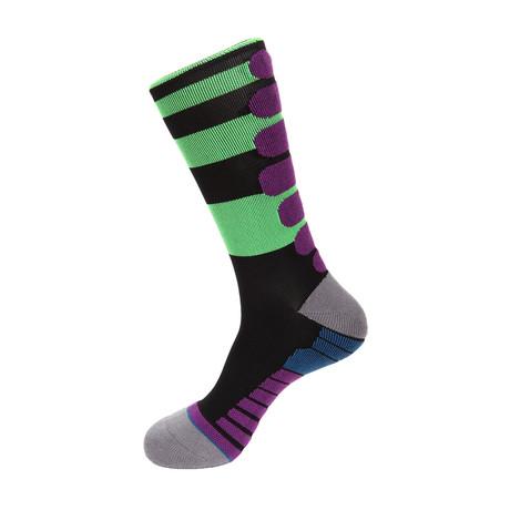 Peak Stripe Athletic Socks // Black + Lime