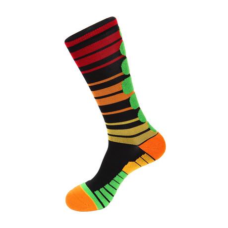 Ready Stripe Athletic Socks // Black + Orange + Yellow