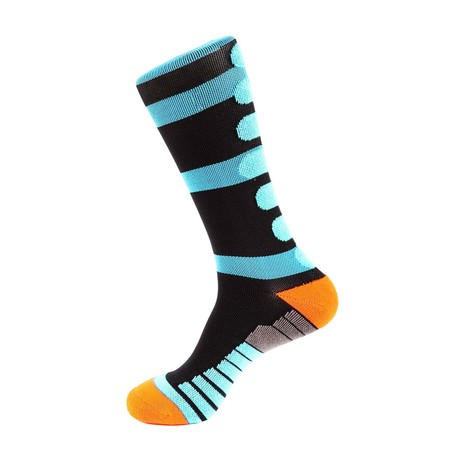 Champion Stripe Athletic Socks // Black + Light Blue