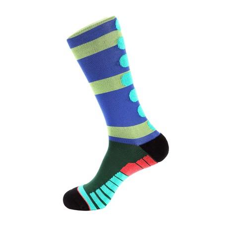 Champion Stripe Athletic Socks // Green + Blue