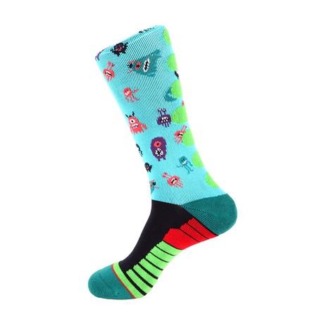 Monster Athletic Socks // Aqua Multi