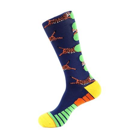 Tiger Athletic Socks // Blue + Orange