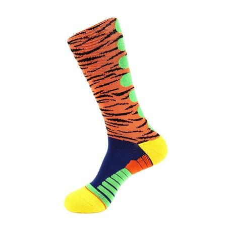 Tiger Stripe Athletic Socks // Orange Multi
