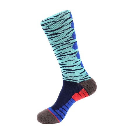 Tiger Stripe Athletic Socks // Light Blue Multi