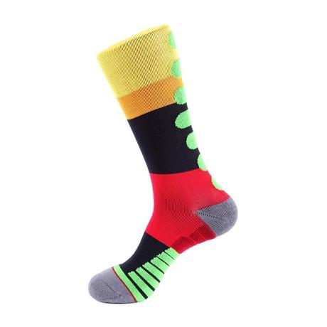Mile Stripe Athletic Socks // Yellow + Orange + Blue