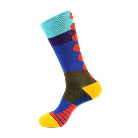 Mile Stripe Athletic Socks // Green + Purple + Blue