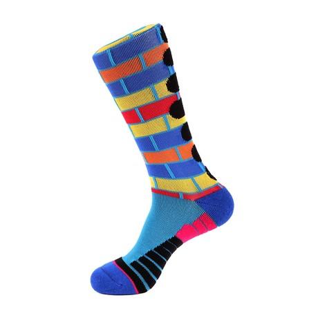 Brick Stripe Athletic Socks // Medium Blue + Multi