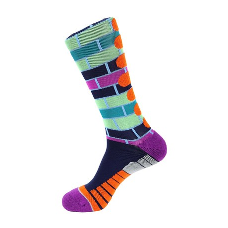 Brick Stripe Athletic Socks // Green + Blue Multi