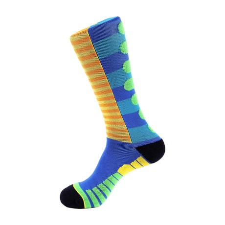 Lane Stripe Athletic Socks // Blue + Orange