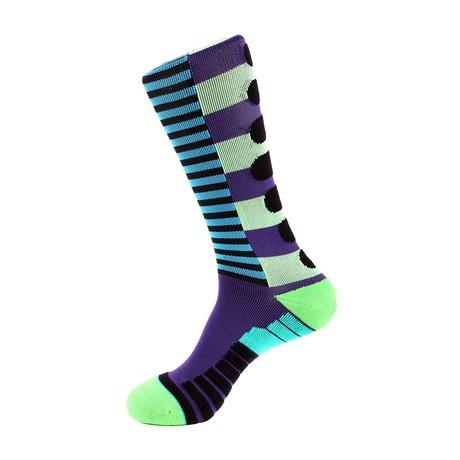 Lane Stripe Athletic Socks // Black + Green + Purple