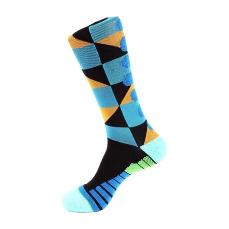 Checker Athletic Socks // Blue + Orange
