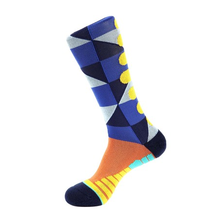 Checker Athletic Socks // Blue + Yellow