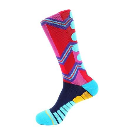 Zig Zag Athletic Socks // Fuchsia Red + Blue