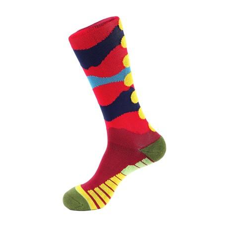 Brush Athletic Socks // Red Multi