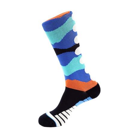 Brush Athletic Socks // Medium Blue + Multi