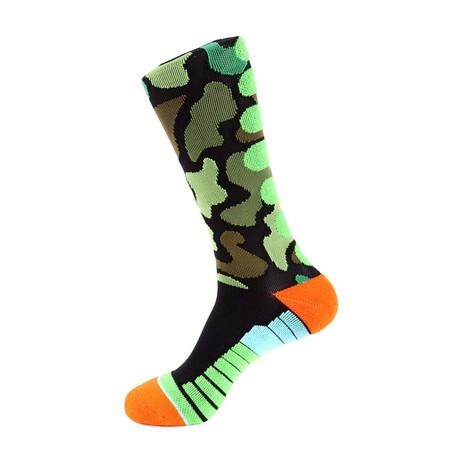 Camo Athletic Socks // Black Multi