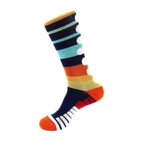 Olympia Stripe Athletic Socks // Blue + Brown + White