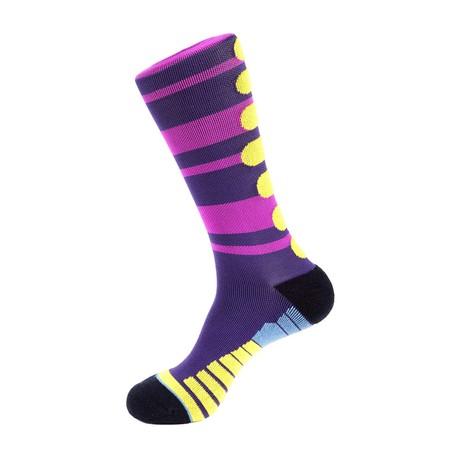 Jump Stripe Athletic Socks // Purple Multi