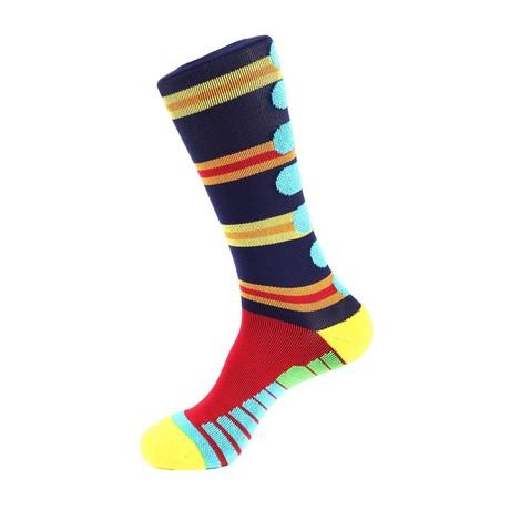 Lane Stripe Athletic Socks // Blue Multi