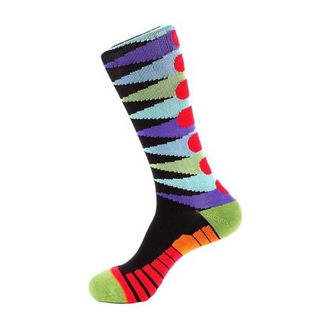Pennant Athletic Socks // Black + Purple + Blue