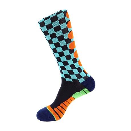 Checker Flag Athletic Socks // Blue Multi