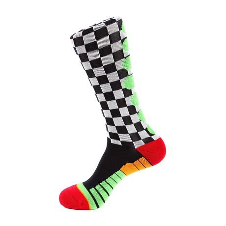 Checker Flag Athletic Socks // White + Black