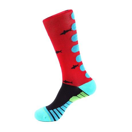 Shark Athletic Socks // Red + Blue