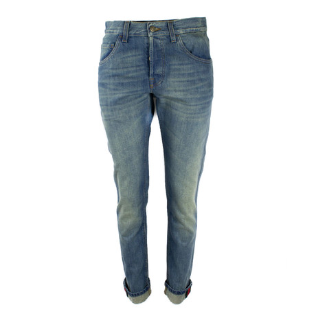 Men's Tapered Denim Pant With Web // Blue (31WX30L)
