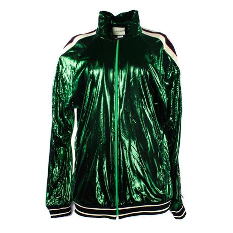 Men's Oversize Laminated Jersey Jacket // Green (XS)