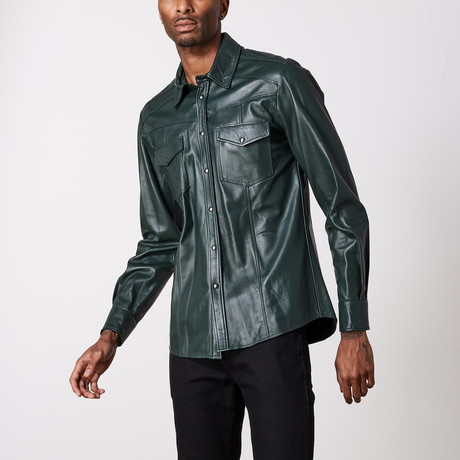 Leather Shirt // Green (XS)