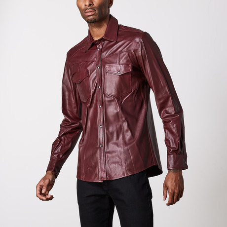Leather Shirt // Wine (XS)