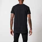 Striped V Neck Cotton T-Shirt // Black + Gray (3XL)