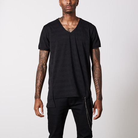 Striped V Neck Cotton T-Shirt // Black + Gray (S)