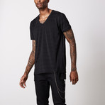 Striped V Neck Cotton T-Shirt // Black + Gray (S)