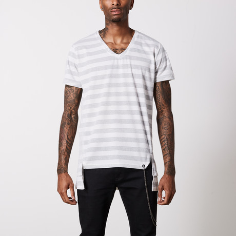Striped V Neck Cotton T-Shirt // White + Gray (S)