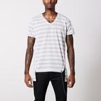 Striped V Neck Cotton T-Shirt // White + Gray (L)