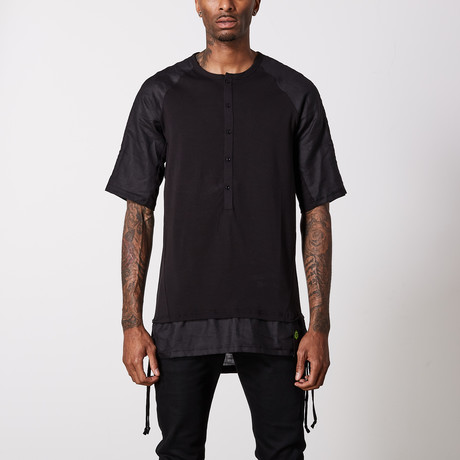 Linen Cotton Henley T-Shirt // Black (S)