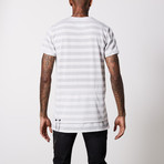 Striped V Neck Cotton T-Shirt // White + Gray (S)