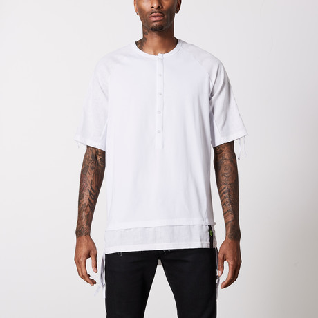Linen Cotton Henley T-Shirt // White (S)
