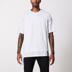 Linen Cotton Henley T-Shirt // White (3XL)