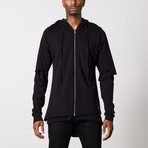Multilayered Zip Up Hoodie // Black (2XL)