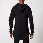 Multilayered Zip Up Hoodie // Black (S)