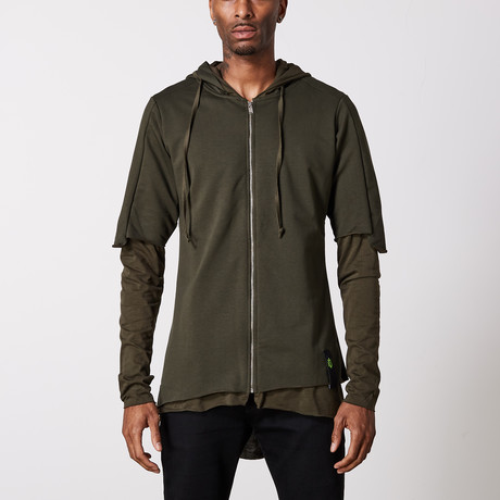 Multilayered Zip Up Hoodie // Khaki (S)
