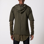 Multilayered Zip Up Hoodie // Khaki (L)
