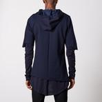 Multilayered Zip Up Hoodie // Navy (XL)