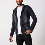 Studded Premium Cotton Denim Jacket // Black (XL)